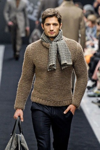 How to wear: brown gingham scarf, grey print canvas tote bag, black wool dress pants, brown knit crew-neck sweater