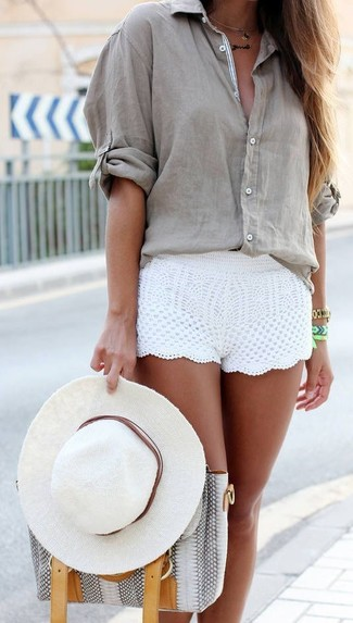 How to wear: white hat, grey snake leather tote bag, white crochet shorts, grey button down blouse