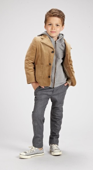 How to wear: grey sneakers, grey trousers, grey hoodie, tan jacket
