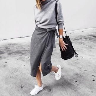 Women's Grey Turtleneck, Grey Slit Midi Skirt, White Low Top Sneakers, Black Leather Bucket Bag