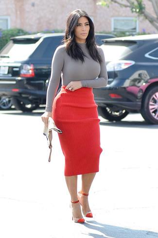 Kim Kardashian wearing Grey Turtleneck, Red Knit Pencil Skirt, Red Suede Pumps