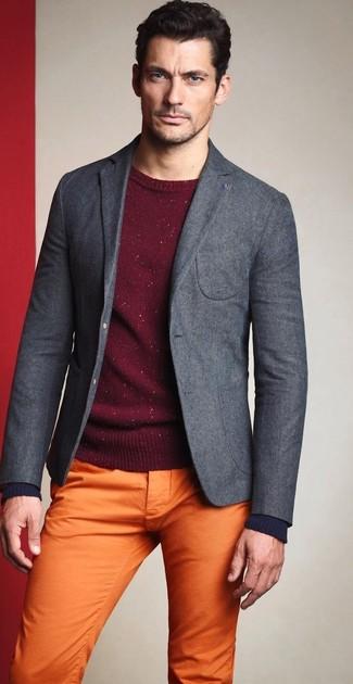 David Gandy wearing Grey Wool Blazer, Burgundy Crew-neck Sweater, Orange Chinos