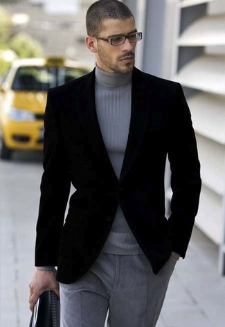 Black Cotton Velvet Blazer