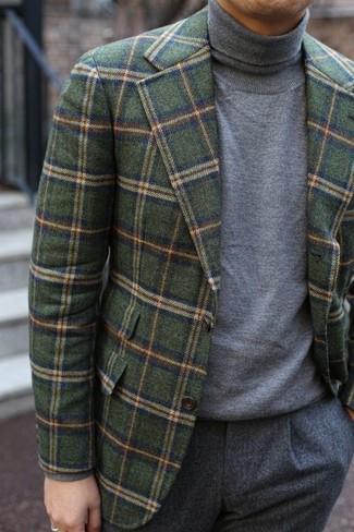 How to wear: grey wool dress pants, grey turtleneck, olive check wool blazer