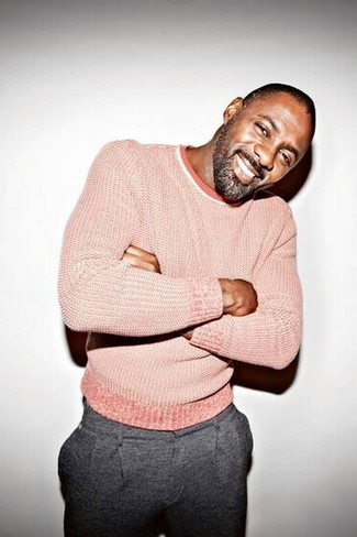 How to wear: grey wool dress pants, pink crew-neck sweater