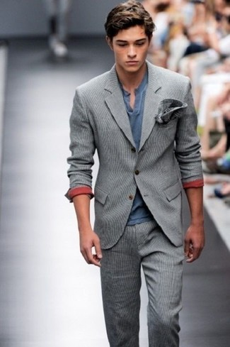 How to wear: grey wool suit, navy henley shirt, charcoal plaid pocket square