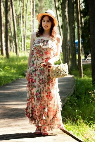 How to wear: beige straw hat, beige straw handbag, white leather flat sandals, beige floral maxi dress