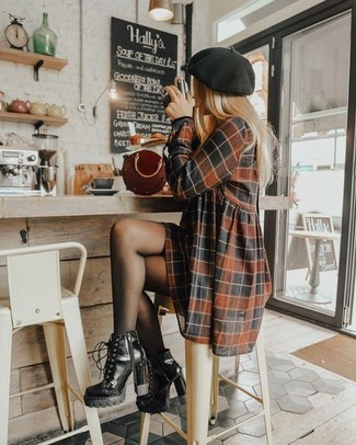 How to wear: black beret, burgundy leather handbag, black leather lace-up ankle boots, brown check casual dress
