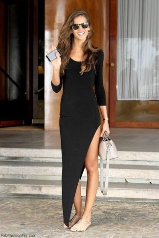 How to wear: black sunglasses, beige leather handbag, silver thong sandals, black slit maxi dress