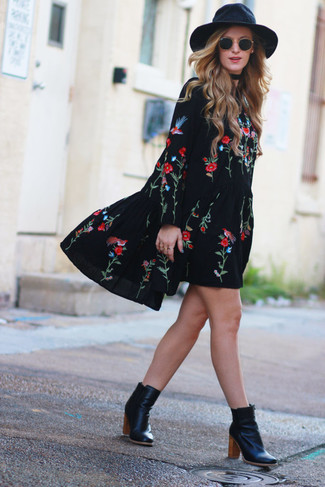 How to wear: black sunglasses, black wool hat, black leather ankle boots, black embroidered peasant dress