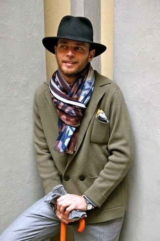 How to wear: white pocket square, black hat, grey dress pants, olive wool double breasted blazer