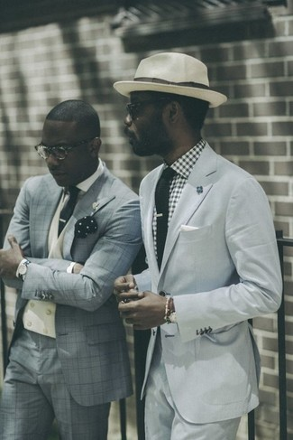 How to wear: black knit tie, beige wool hat, white and black gingham dress shirt, light blue suit