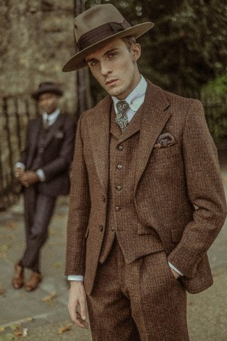 How to wear: olive print tie, brown wool hat, light blue dress shirt, brown wool three piece suit