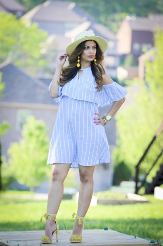 How to wear: gold watch, beige straw hat, green-yellow suede heeled sandals, light blue vertical striped off shoulder dress