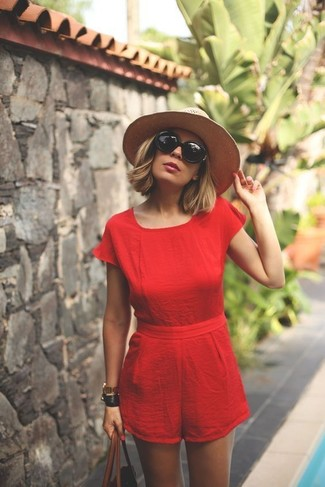 How to wear: black sunglasses, beige straw hat, brown leather tote bag, red playsuit