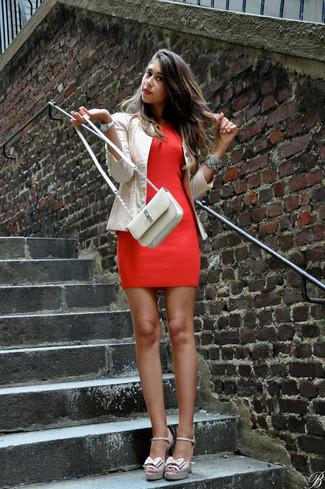 How to wear: beige leather crossbody bag, beige leather heeled sandals, red bodycon dress, beige leather biker jacket