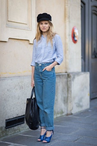 How to wear: black leather tote bag, blue leather heeled sandals, blue boyfriend jeans, light blue chambray dress shirt