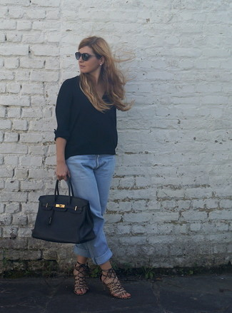 How to wear: black leather tote bag, brown leopard suede heeled sandals, light blue boyfriend jeans, black long sleeve blouse