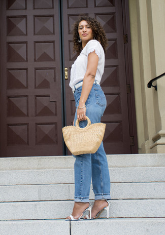 How to wear: white woven leather belt, white leather heeled sandals, blue boyfriend jeans, white lace short sleeve blouse