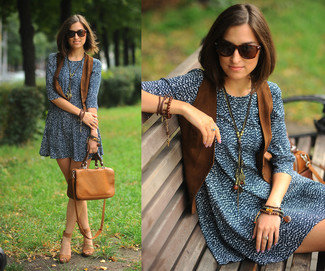 Women's Brown Leather Satchel Bag, Brown Suede Heeled Sandals, Navy and White Print Casual Dress, Brown Suede Vest