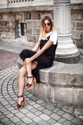 How to wear: gold bracelet, burgundy leather heeled sandals, white crew-neck t-shirt, black cami dress