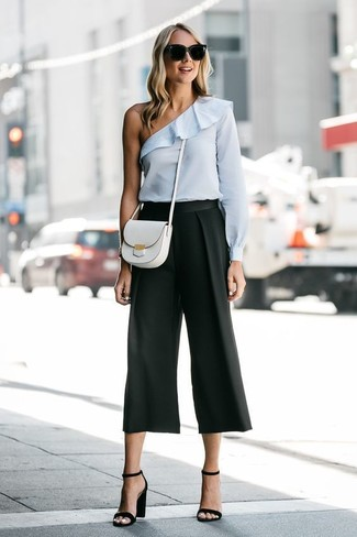 How to wear: white leather crossbody bag, black leather heeled sandals, black culottes, light blue off shoulder top