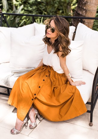 How to wear: black and gold sunglasses, grey snake leather heeled sandals, mustard full skirt, white silk tank