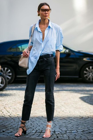 How to wear: black leather heeled sandals, white leather heeled sandals, black jeans, light blue dress shirt