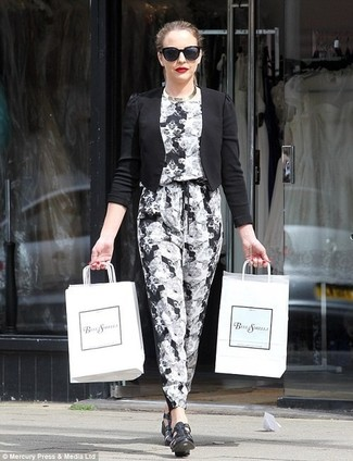 6c0d91d46b1f Women's Fashion › Fashion for 30 year old women Women's Black Sunglasses,  Black Leather Heeled Sandals, White and Black Print Jumpsuit, Black
