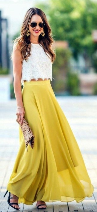 How to wear: tan leopard suede clutch, black leather heeled sandals, yellow pleated chiffon maxi skirt, white lace cropped top