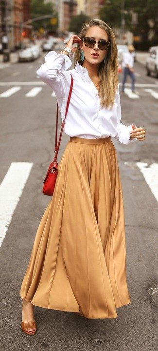 How to wear: red leather crossbody bag, brown leather heeled sandals, tan pleated maxi skirt, white dress shirt