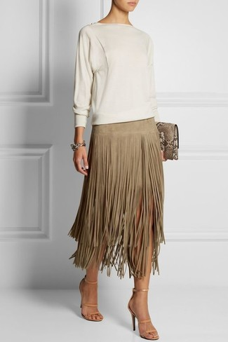 How to wear: tan snake leather clutch, beige leather heeled sandals, beige fringe suede midi skirt, white crew-neck sweater