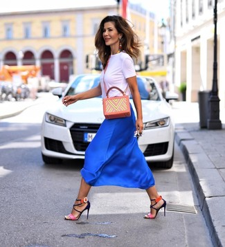 How to wear: orange print leather crossbody bag, hot pink leather heeled sandals, blue silk midi skirt, white crew-neck t-shirt