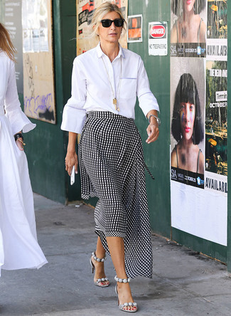 How to wear: black sunglasses, grey leather heeled sandals, black and white gingham midi skirt, white dress shirt