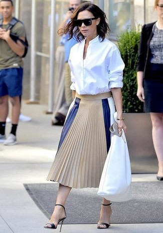 How to wear: white leather tote bag, black leather heeled sandals, beige pleated leather midi skirt, white dress shirt