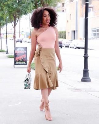 How to wear: green leather handbag, tan suede heeled sandals, tan pleated midi skirt, pink tank