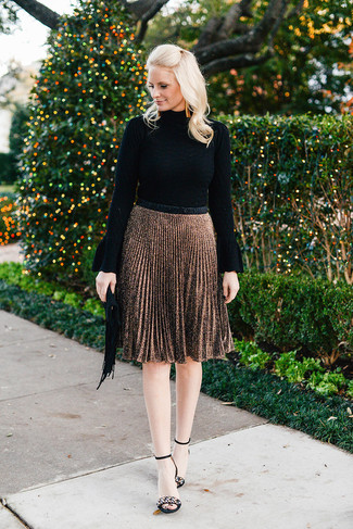 How to wear: black fringe suede clutch, black embellished suede heeled sandals, brown pleated midi skirt, black turtleneck