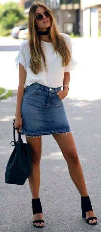 How to wear: black leather bucket bag, black suede heeled sandals, blue denim mini skirt, white ruffle crew-neck t-shirt