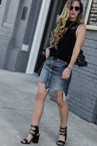 How to wear: black leather crossbody bag, black leather heeled sandals, grey denim mini skirt, black lace sleeveless top