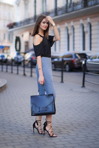 How to wear: black leather satchel bag, black suede heeled sandals, blue pencil skirt, black crew-neck t-shirt
