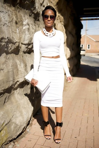 How to wear: white leather clutch, black leather heeled sandals, white pencil skirt, white cropped sweater