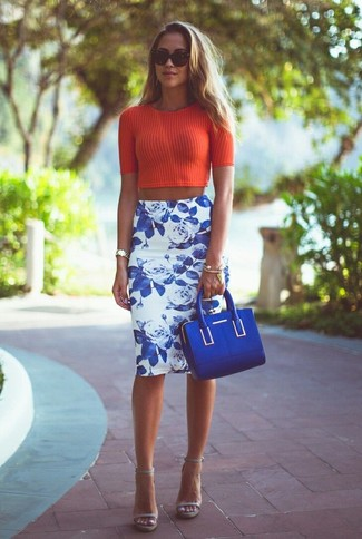 How to wear: blue suede satchel bag, grey leather heeled sandals, white and blue floral pencil skirt, red vertical striped cropped top