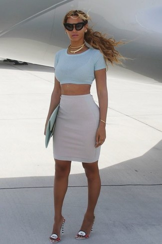How to wear: mint leather clutch, multi colored leather heeled sandals, grey pencil skirt, light blue cropped top
