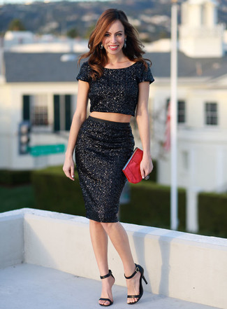 How to wear: red leather clutch, black leather heeled sandals, black sequin pencil skirt, black sequin cropped top