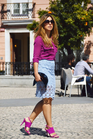 How to wear: black sequin clutch, purple suede heeled sandals, light blue lace pencil skirt, purple dress shirt