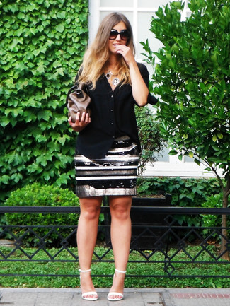 How to wear: brown leather clutch, white leather heeled sandals, black and white horizontal striped sequin pencil skirt, black dress shirt