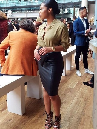 How to wear: black leather clutch, grey snake leather heeled sandals, black leather pencil skirt, olive long sleeve blouse