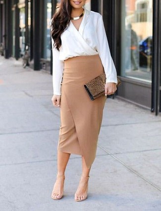 How to wear: tan leopard suede clutch, beige leather heeled sandals, tan slit pencil skirt, white long sleeve blouse
