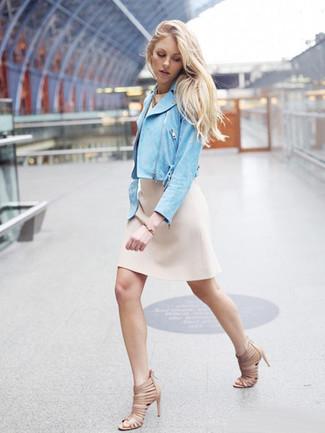 How to wear: gold bracelet, beige leather heeled sandals, beige sheath dress, light blue suede biker jacket