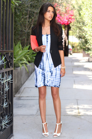 How to wear: hot pink leather clutch, white leather heeled sandals, blue tie-dye sheath dress, black blazer